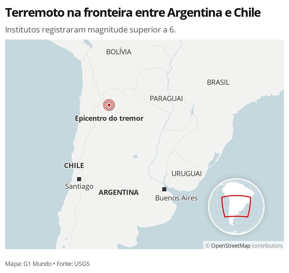 Terremoto na fronteira entre Argentina e Chile em 30 de novembro — Foto: G1 Mundo