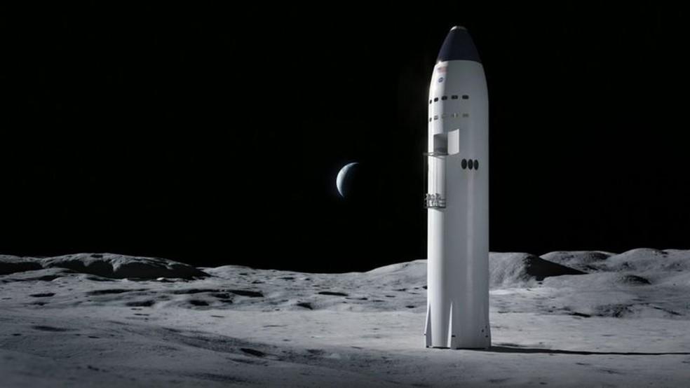 Proposta vencedora da SpaceX usará versão adaptada de seu foguete para levar astronautas à Lua — Foto: SpaceX/Divulgação