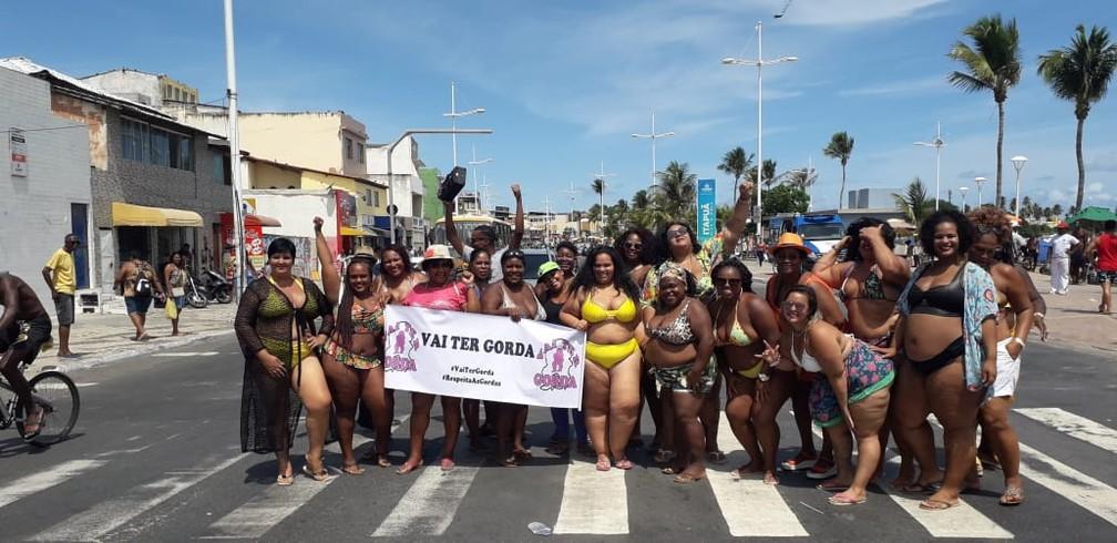 Ação também é para chamar atenção para o direito das mulheres gordas ocuparem espaços públicos, sem sofrer discriminação. — Foto: Arquivo Pessoal
