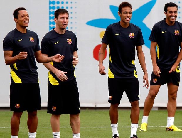 neymar messi barcelona treino (Foto: Agência Getty Images)