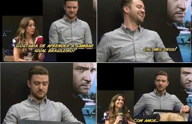 A entrevista com Justin Timberlake fez sucesso no YouTube (Foto: Reprodução da internet)