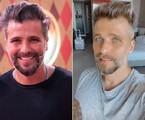 À esquerda, Bruno Gagliasso antes; à direita, em foto desta semana, no Uruguai | Divulgação/TV Globo e Reprodução/Instagram