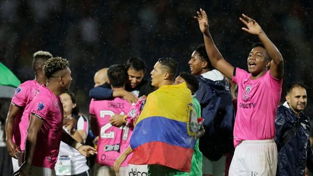 Comemoração dos jogadores do Independiente Del Valle