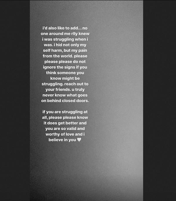 Um post da cantora Madison Beer celebrando seu aniversário de um ano livre de auto-mutilação (Foto: Instagram)