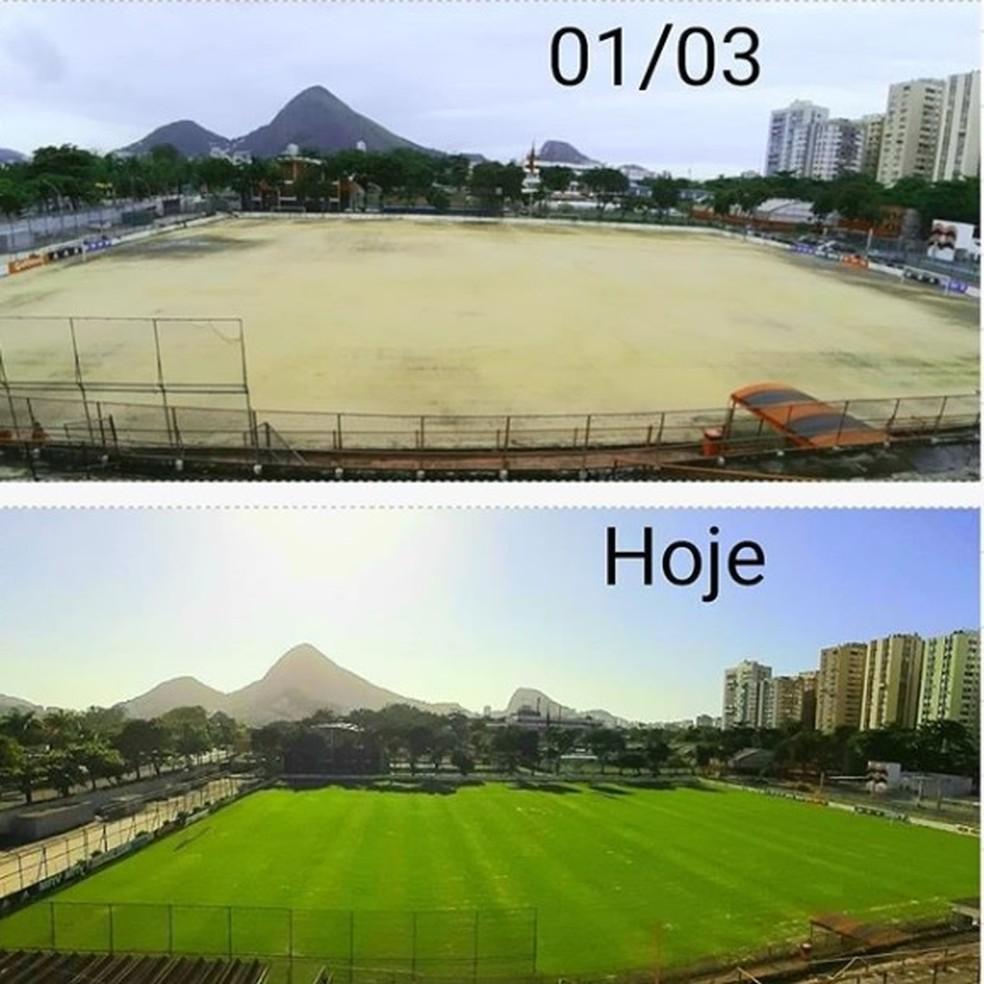 O antes e depois do campo da Gávea, sede do Flamengo — Foto: Reprodução Instagram