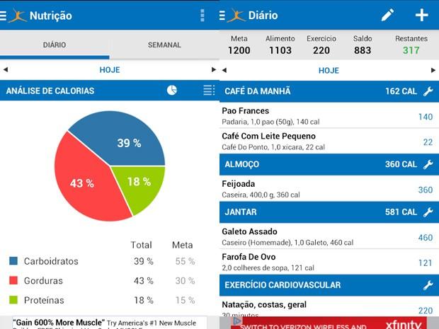 Aplicativo MyFitnessPal funciona como calculadora de calorias (Foto: Reprodução)