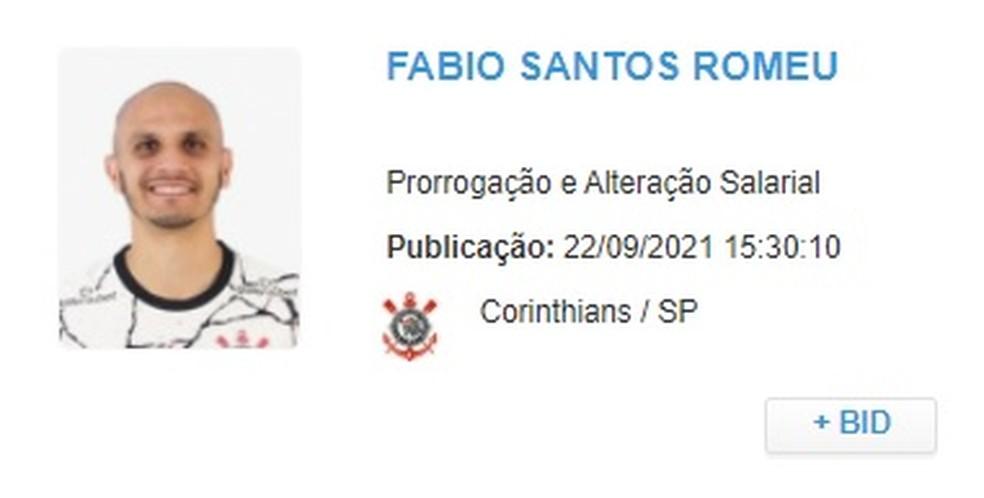 Novo contrato de Fábio Santos com o Corinthians — Foto: Reprodução
