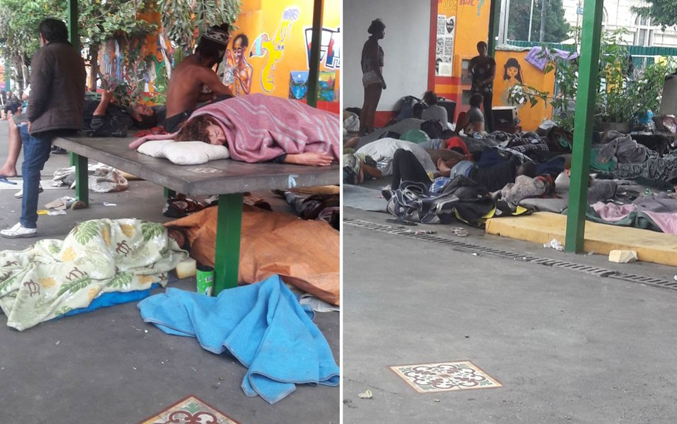 Usuários dormindo em chão e em mesas da antiga tenda do programa Braços Abertos  (Foto: Arquivo Pessoal )