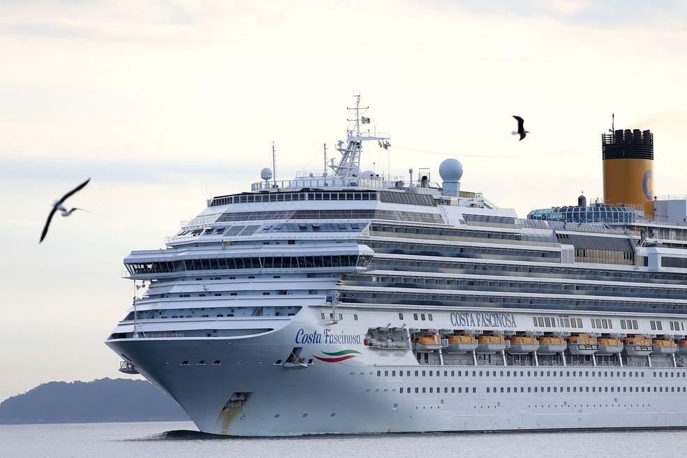 Navio de cruzeiro Costa Fascinosa — Foto: GUILHERME DIONíZIO/ESTADÃO CONTEÚDO