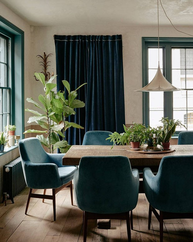Décor do dia: Sala de jantar com tons de verde e azul (Foto: Reprodução)