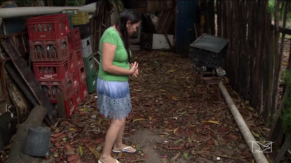 Costureira Maria Santos reclama da proliferação de caramujos que tem aparecido no quintal de sua casa — Foto: Reprodução/TV Mirante