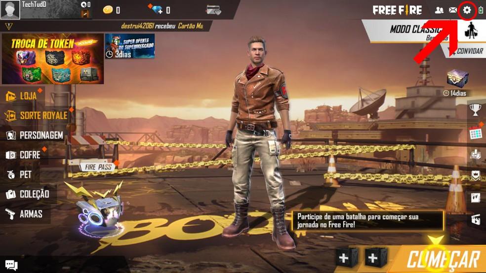 A vinculação de conta do Free Fire e Google pode ser feita nas configurações do jogo — Foto: Reprodução/Leandro Eduardo