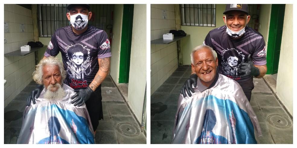 Transformação deixou ex-morador de rua alegre. Ele já havia tentado cortar o cabelo em outros locais, mas foi rejeitado — Foto: Divulgação/Alex Mãos de Tesoura