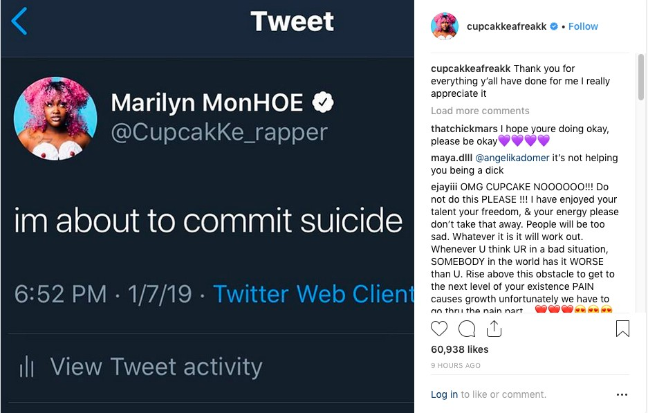 O post no Instagram no qual a rapper Cupcakke anunciou sua tentativa de suicídio (Foto: Instagram)