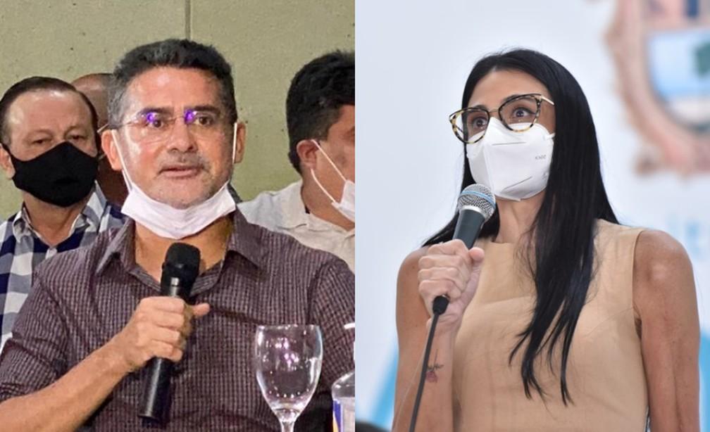 Prefeito de Manaus, David Almeida, e secretária municipal de Saúde, Shadia Fraxe. — Foto: Divulgação