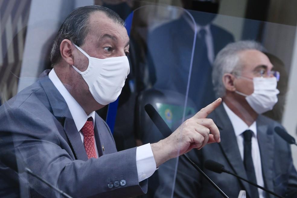 Omar Aziz (PSD-AM), presidente da CPI da Covid — Foto: Edilson Rodrigues/Agência Senado