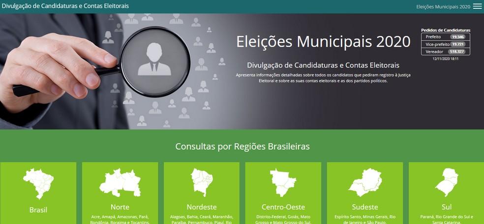 Página do TSE onde é possível checar número dos candidatos — Foto: Reprodução