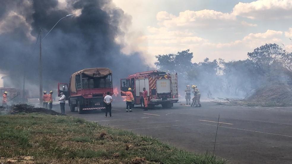 Via na Cidade do Automóvel foi interditada por causa de incêndio florestal, no DF — Foto: Nicole Angel/ G1