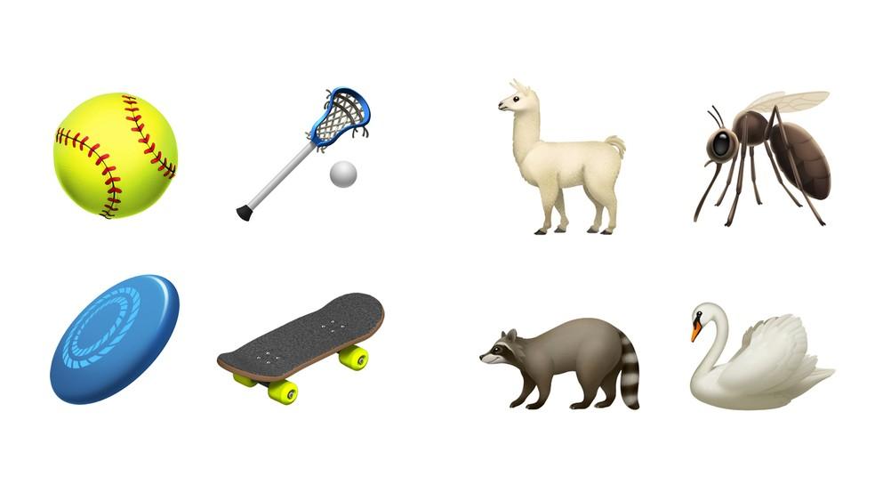 Novos emojis incluem opções de esportes e animais — Foto: Divulgação/Apple