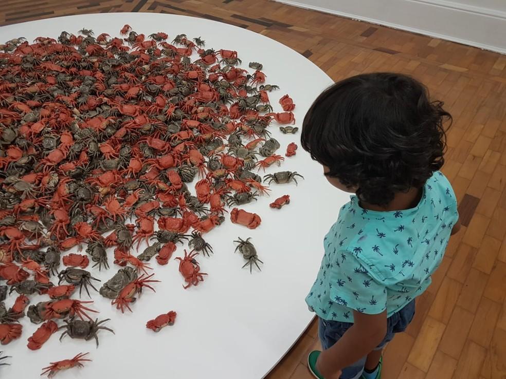 Mostra reúne trabalhos históricos e outros inéditos criados a partir de uma temporada do artista e ativista no Brasil — Foto: Flávia Cristini/G1