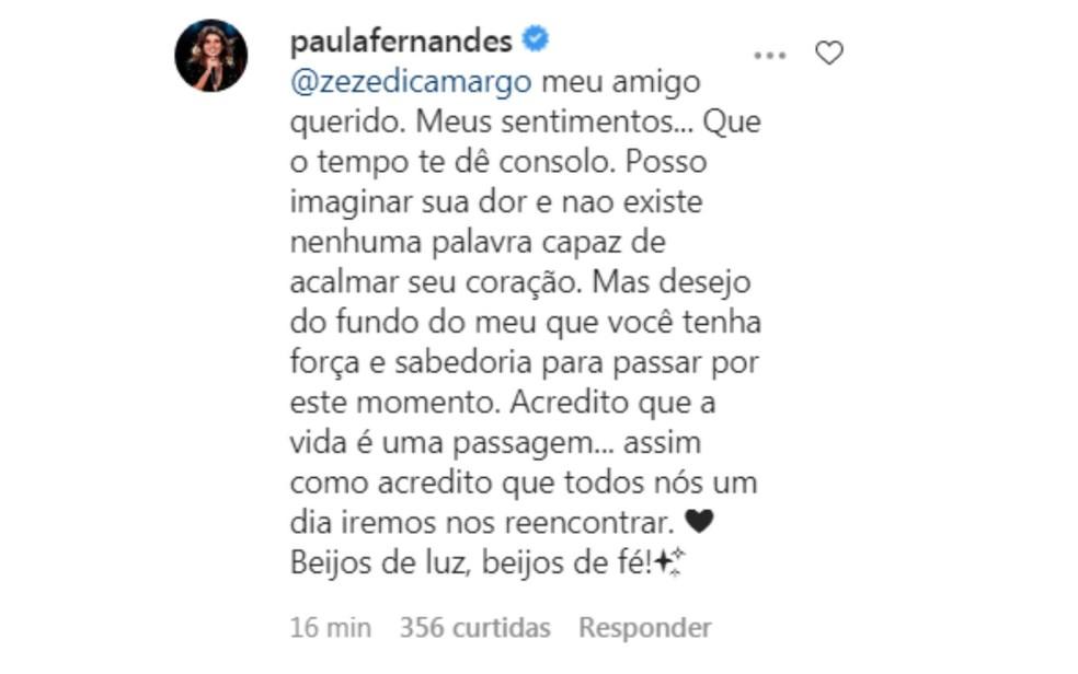 Paula Fernandes  lamenta morte de pai da dupla Zezé di Camargo e Luciano — Foto: Reprodução Instagram