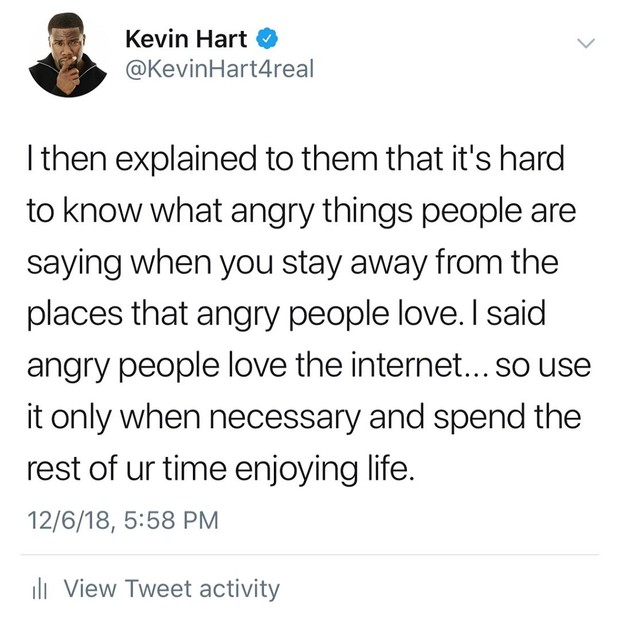 Kevin Hart se manifesta na web após vazamento de posts homofóbicos (Foto: Reprodução/Twitter)