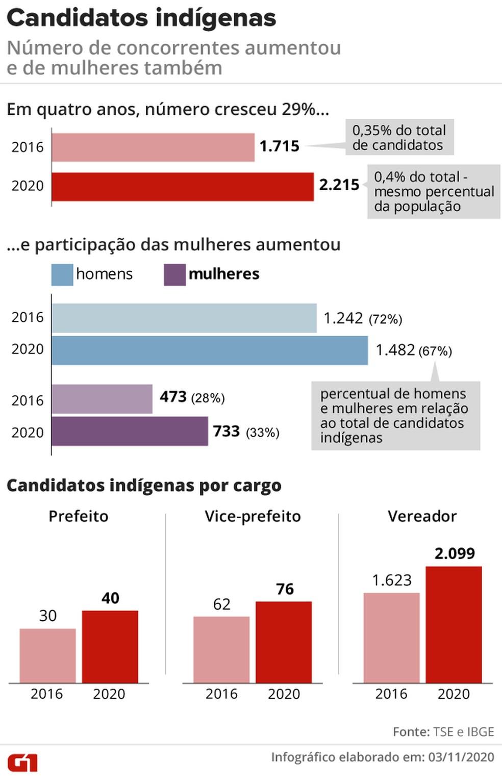 Número de candidatos que se declaram indígenas aumenta 29% em quatro anos — Foto: Elcio Horiuchi/G1
