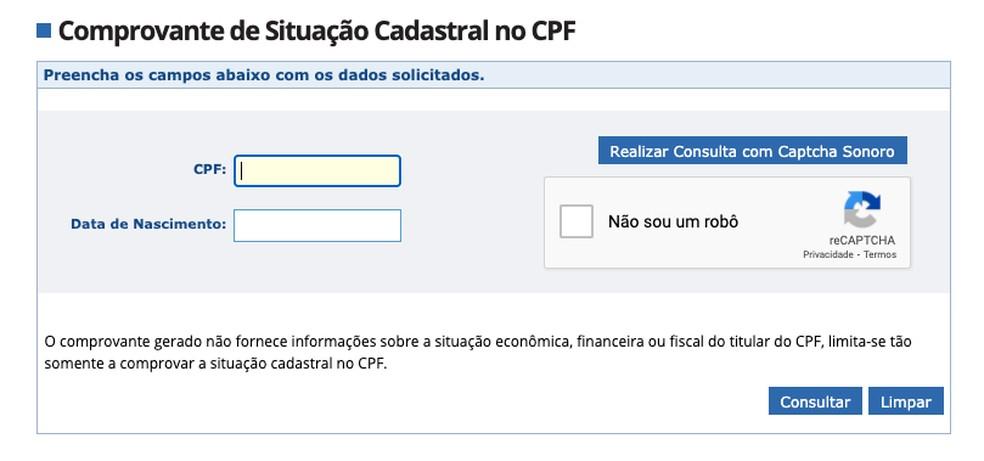 Consulta CPF — Foto: Reprodução/Receita Federal