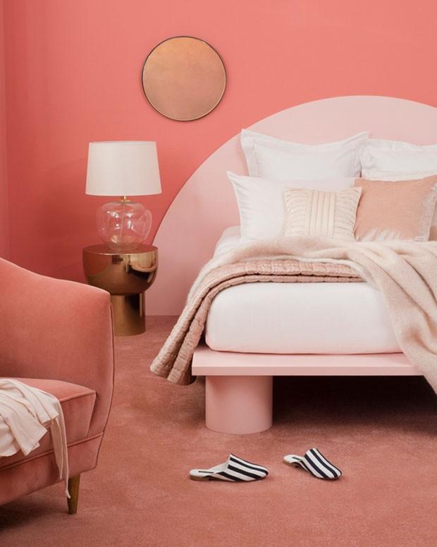 Décor do dia: quarto de casal em tons de rosa (Foto: Reprodução/Divulgação)