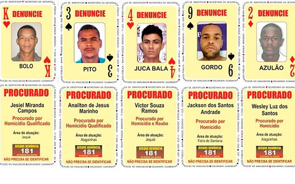 Quatro homens procurados pela polícia baiana foram incluídos no Baralho do Crime da SSP (Foto: SSP/ Divulgação)