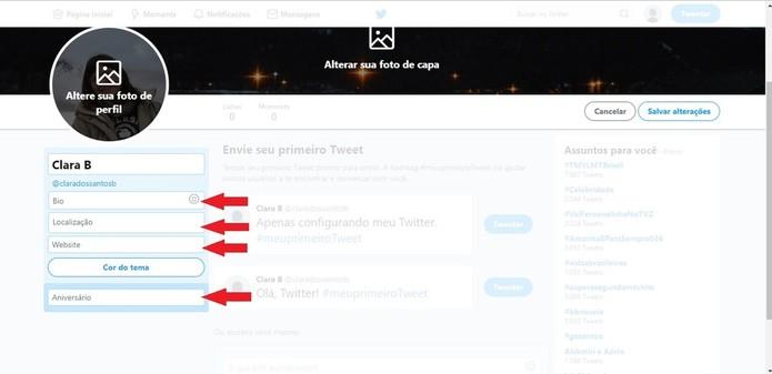 O perfil do Twitter contém uma bio, localização, website e aniversário, mas apenas se a pessoa deseja preencher estas informações (Foto: Reprodução/Clara Barreto)