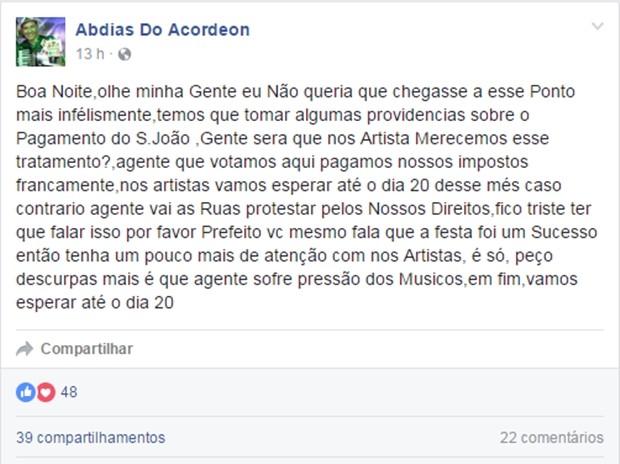 Atraso no pagamento gerou desabafo de Abdias do Acordeon nas redes sociais (Foto: Reprodução/Facebook/Abdias do Acordeon)