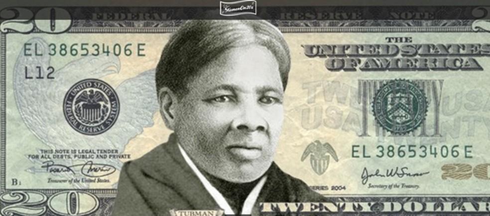 Simulação de uma cédula de US$ 20 com Harriet Tubman — Foto: Divulgação/Women on 20s