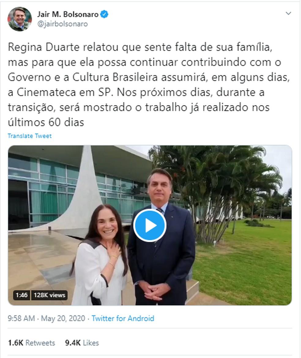 Publicação em rede social do presidente Jair Bolsonaro em que ele anuncia saída de Regina Duarte do comando da Secretaria de Cultura — Foto: Rede Social
