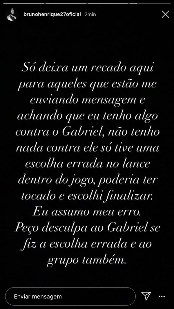 Bruno Henrique nega desgaste com Gabigol no Flamengo — Foto: Reprodução
