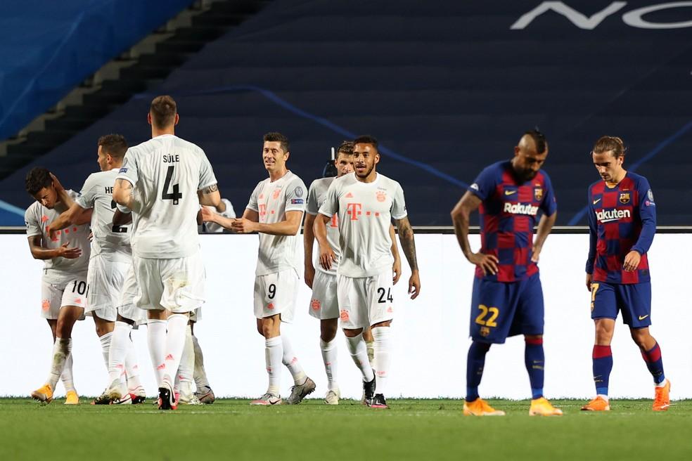 Bayern de Munique goleou o Barcelona nas quartas de final da Champions 2019/20 — Foto: Getty Images