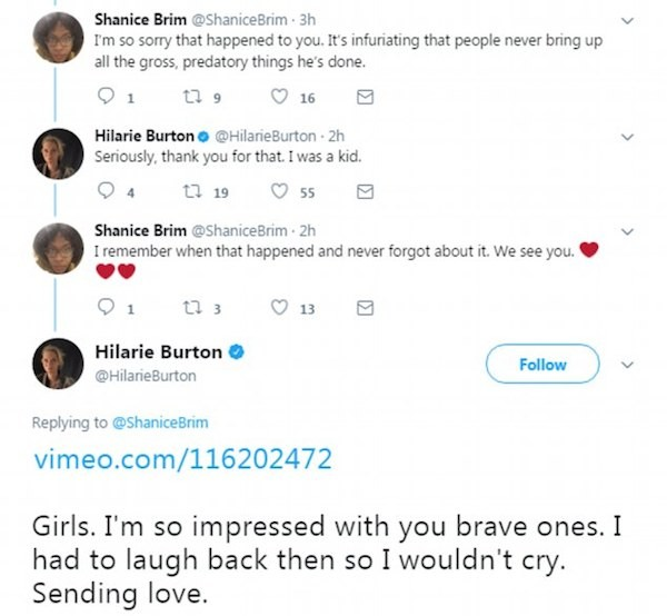 A atriz Hilarie Burton mencionando o ocorrido em 2003 no qual Ben Affleck apertou os seus seios (Foto: Twitter)