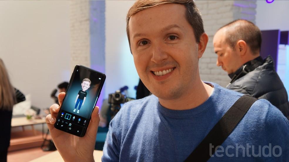 AR Emoji permite criar próprios emojis no Galaxy S9 (Foto: Thássius Veloso / TechTudo)