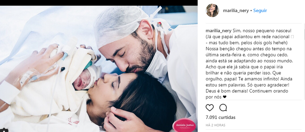 Mulher de Everton Ribeiro, Marília anunciou o nascimento do filho nas redes sociais durante o jogo do Flamengo (Foto: Reprodução)