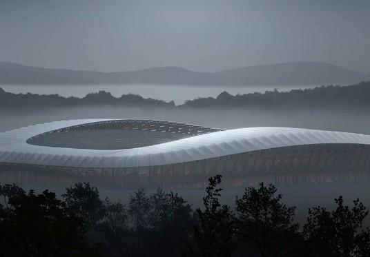 Estádio totalmente feito de madeira será erguido na Inglaterra (Foto: Divulgação)