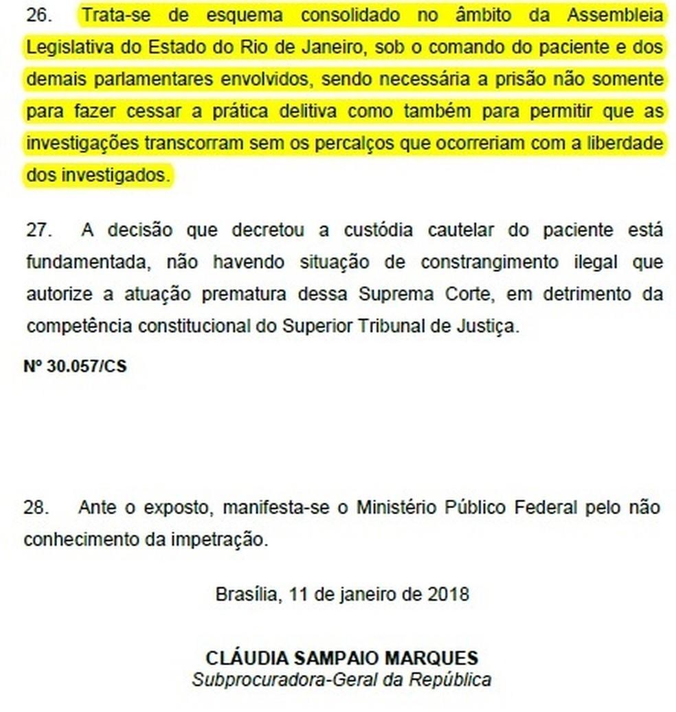 Em parecer, subprocuradora da PGR pede que Picciani siga preso (Foto: Reprodução)