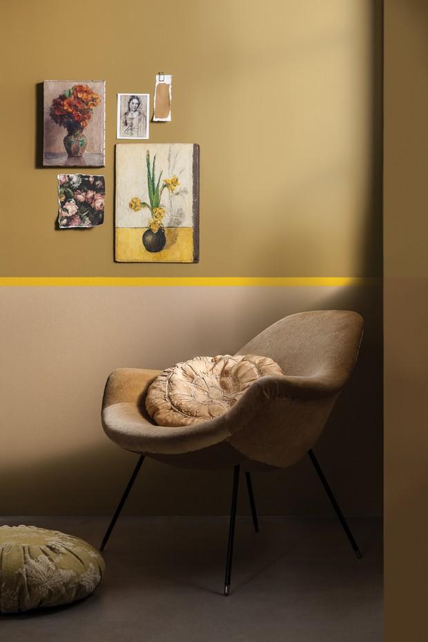 Décor do dia: tons de amarelo na parede (Foto: reprodução)