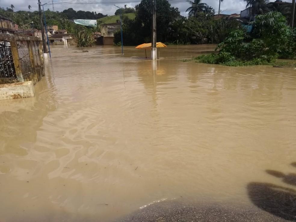 Rio Carimã transbordou e alagou ruas e casas de Barreiros, neste domingo (21) — Foto: Defesa Civil de Barreiros/Divulgação
