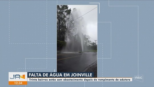 Rompimento de adutora compromete abastecimento de água em bairros de Joinville