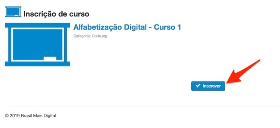 Ação para confirmar a inscrição em um curso do site Brasil Mais TI — Foto: Reprodução/Marvin Costa