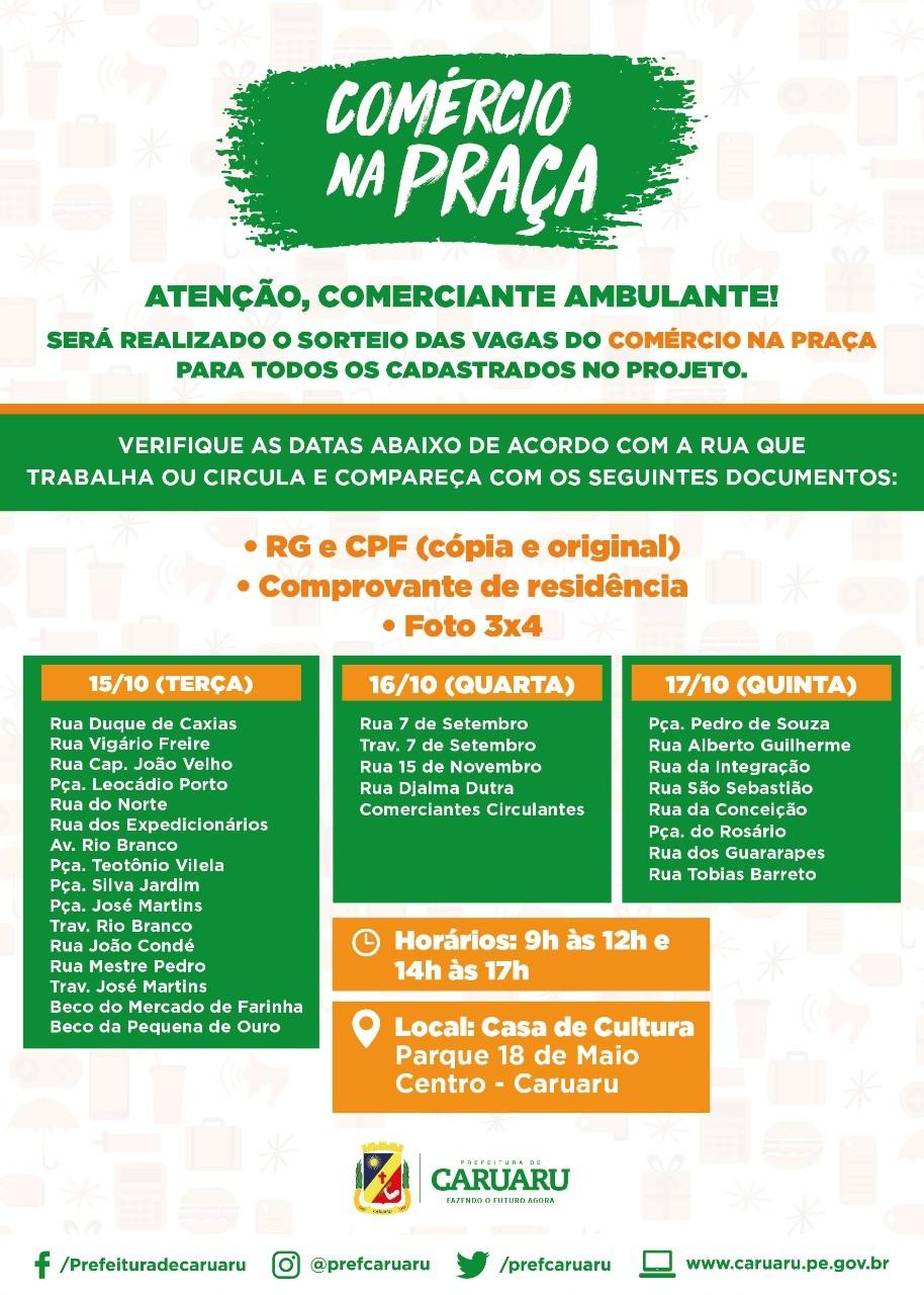Prefeitura convoca comerciantes para sorteio das vagas do 'Comércio na Praça' - Notícias - Plantão Diário