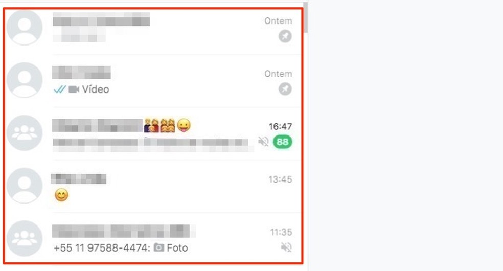 Imagens de contatos e grupos do WhatsApp Web ocultadas pela extensão WA Web Plus — Foto: Reprodução/Marvin Costa