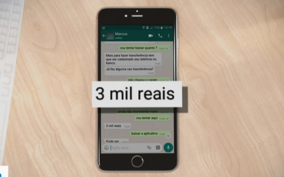 Golpistas clonam n�meros de celular e pedem dinheiro emprestado a contatos de v�timas em app de mensagem — Foto: TV Anhanguera/Reprodu��o