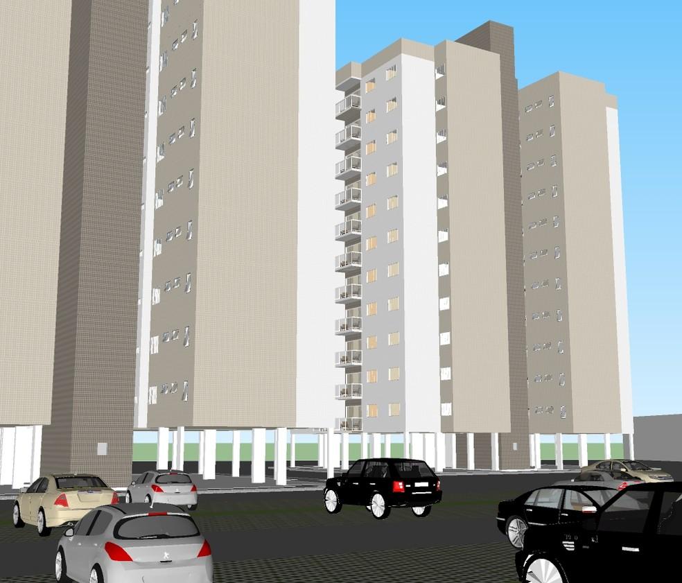 Imagem ilustrativa mostra como devem ficar os apartamentos a serem construídos  (Foto: Governo do RN/Divulgação)