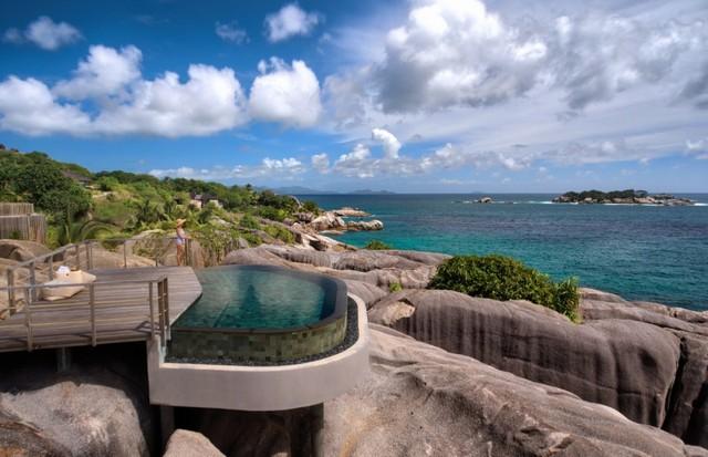 A piscina do spa do Six Senses Zil Pasyon (Foto: Divulgação)